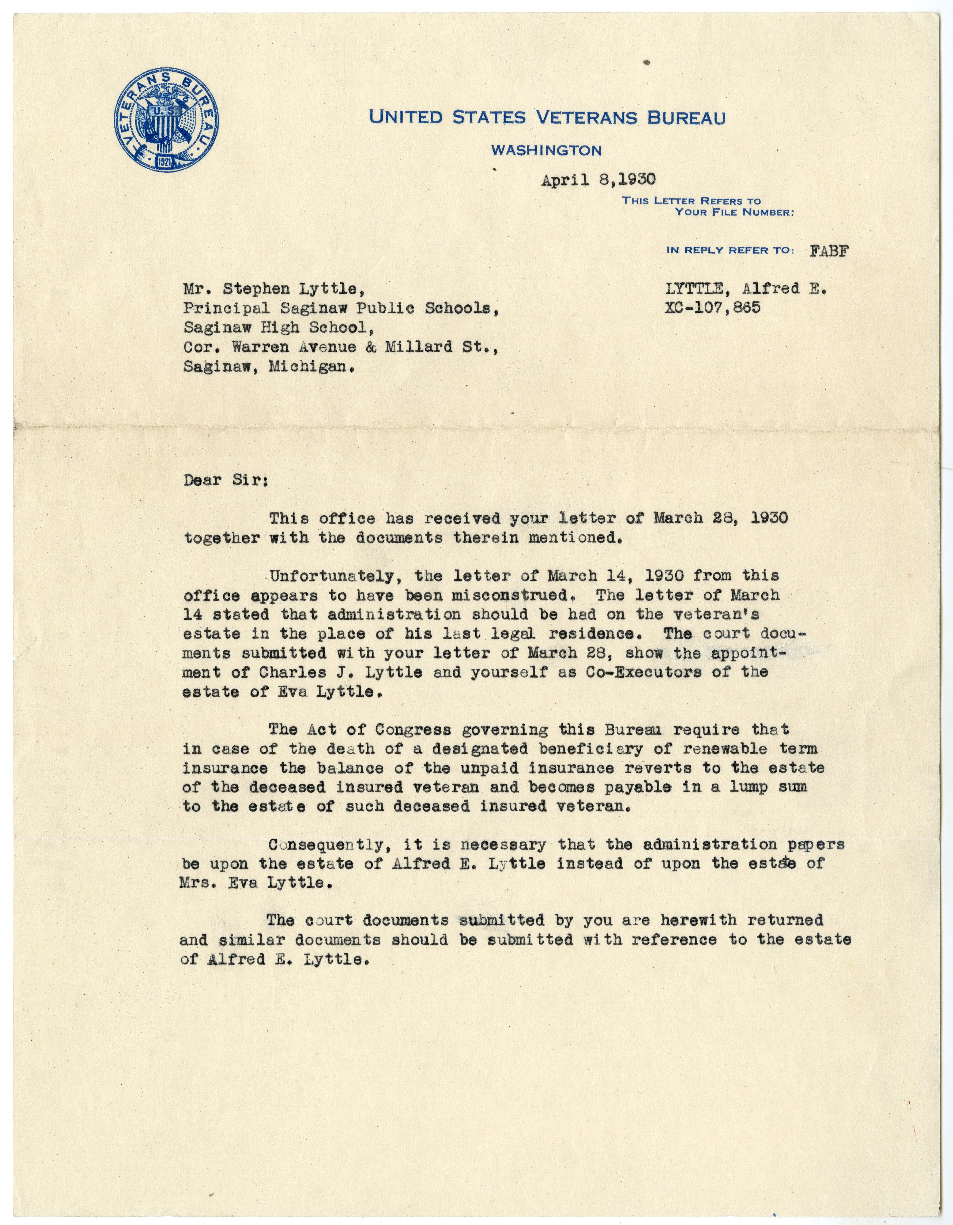 Polar bear collection alfred e lyttle papers letter to sh lyttle from us veterans bureau april 8 1930 spiritdancerdesigns Gallery
