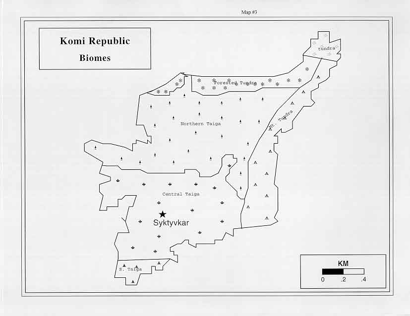 And Delineations For The Forest Biomes Of The Komi Republic Biome Percentage Square Kilometers Of Area Mountain Tundra 10 2 42513 6 Arctic Tundra 2 4