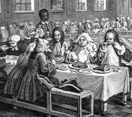 Rules of dining in 18th century england for 17th century french cuisine