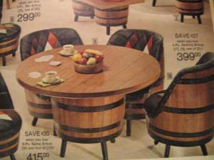 I Thumbed Through It Quickly And Found My Next Dining Room Set Which Is Apparently Made By Adding Upholstery To Old Barrels